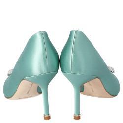 Manolo Blahnik Mint Green Satin Hangisi Crystal Embellished Pumps Size 38.5