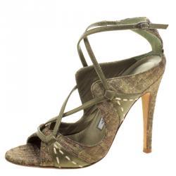 76e6c2655079 Manolo Blahnik Metallic Green Silk Rovani Cross Strap Open Toe Sandals Size  35