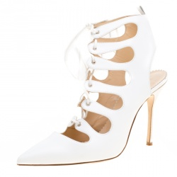 3aa1d77424d4 Manolo Blahnik White Leather Latta Cut Out Lace Up Pointed Toe Booties Size  39