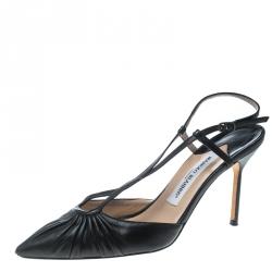 95eb6f2848bec Manolo Blahnik Black Leather Pleat Detail Cross Strap Sandals Size 39
