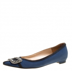98595a6767e958 Manolo Blahnik Navy Blue Satin Gotrian Crystal Embellished Pointed Toe Flats  Size 36.5