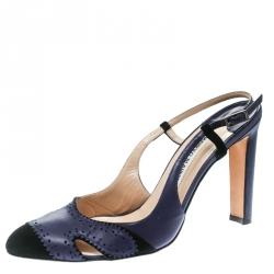 b198801da954a Manolo Blahnik Blue Leather and Black Suede Cap Toe Barrie Spectator  Slingback Sandals Size 39.5