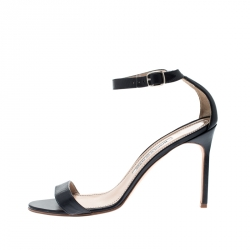 b74f59cfb7a23 Manolo Blahnik Blue Leather Ankle Strap Sandals Size 39