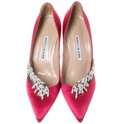 Manolo Blahnik Pink Satin Jewel Embellished Nadira Pumps Size 38.5