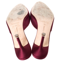 Manolo Blahnik Red Satin Hangisi Pointed Toe Mules Size 38