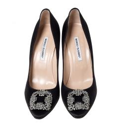 Manolo Blahnik Black Satin Hangisi Crystal Embellished Pumps Size 42