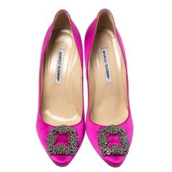 Manolo Blahnik Hot Pink Satin Hangisi Crystal Embellished Pointed Toe Pumps Size 41