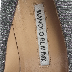 Manolo Blahnik Green/Purple Shimmer Fabric Hangisi Crystal Embellished Pumps Size 37.5