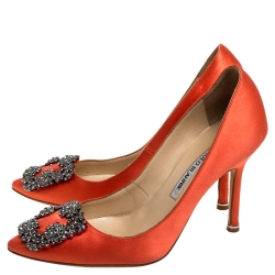 Manolo Blahnik Orange Satin Hangisi Crystal Embellished Pumps Size 36