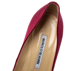 Manolo Blahnik Maroon Satin Hangisi Crystal Embellished Pointed Toe Pumps Size 38