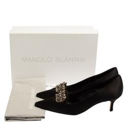 Manolo Blahnik Black Satin Embellished Pumps Size 37