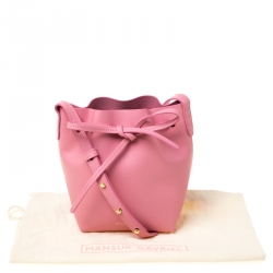 Mansur Gavriel Pink Leather Mini Drawstring Bag