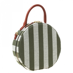 Mansur Gavriel Green/Off white Striped Circle Crossbody Bag