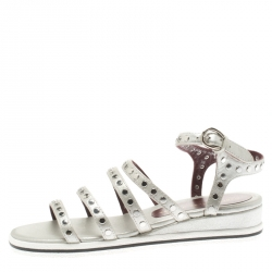 5f3f5c456 Marc by Marc Jacobs Metallic Silver Leather Gena Studded Ankle Strap Flat  Sandals Size 36