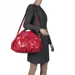 Marc By Marc Jacobs Red Croc Embossed Patent Leather Satchel