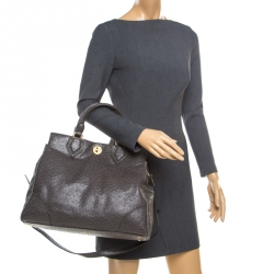 Marc by Marc Jacobs Grey Ostrich Embossed Leather Ozzie Square Lucy Top Handle Bag