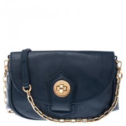 Marc by Marc Jacobs Dark Green Leather Turnlock Crossbody Bag