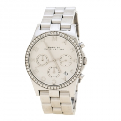 f84eb49e1 Marc by Marc Jacobs Silver Stainless Steel Crystal Henry MBM3104 Women's  Wristwatch 39 mm