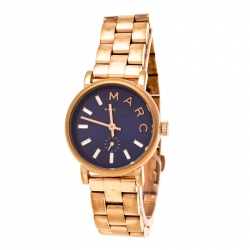 74dbb0f63 Marc by Marc Jacobs Blue Rose Gold Plated Stainless Steel Baker MBM8640  Women's Wristwatch 28 mm