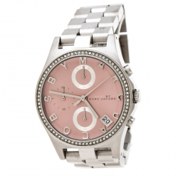 36708fceb Marc by Marc Jacobs Pink Stainless Steel Crystal Henry Chronograph R258296  Women's Wristwatch 36 mm