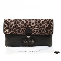 Marc Jacobs Black/Beige Leopard Print Calfhair and Leather Safari Vip Clutch