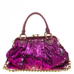 c4d5ce879375 Marc Jacobs Fuchsia Sequin New York Rocker Stam Shoulder Bag