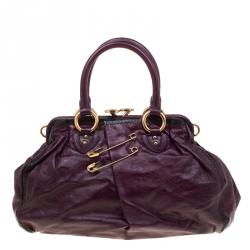 d5de7cc25d4d Marc Jacobs Purple Leather Safety Pin Stam Top Handle Bag