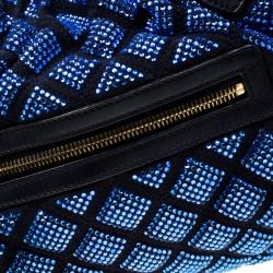 حقيبة كتف مارك جاكوبس ستيم جلد وسويدي مبطنة زخرفة كريستال زرقاء