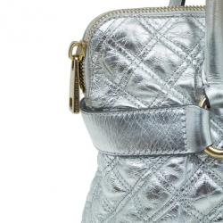 Marc Jacobs Silver Leather Casey Double Quilted Tote