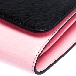 Marc Jacbos Pink/Black Leather Snapshot Wallet On Chain