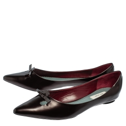 Marc Jacobs Dark Burgundy Leather Bow Pointed Toe Ballet Flats Size 38.5