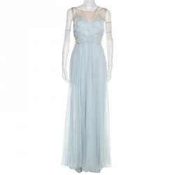 0ebbe29d15 Marchesa Notte Blue Embellished Embroidered Silk Sheer Panel Detail Gown L