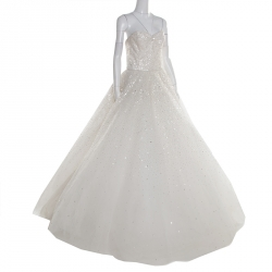 987a5cbdbfd Marchesa Off White Sequined Tulle Strapless Wedding Gown L