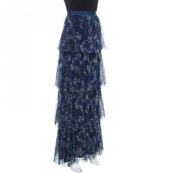 Marchesa Voyage Iris Blue Printed Tulle Pleated Column Skirt M
