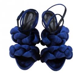 Marco de vincenzo Blue Velvet Braided Ankle Strap Sandals Size 40.5