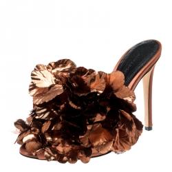 Marco De Vincenzo Metallic Bronze Silk Flower And Satin Open Toe Mules Size 36