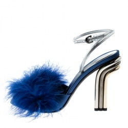 Marco De Vincenzo Blue Marabou Feathers Embellished Ankle Strap Sandals Size 39
