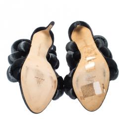Marco de vincenzo Grey Velvet Braided Ankle Strap Sandals Size 36