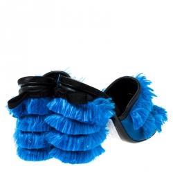 Marco de Vincenzo Blue Satin Fringed Mules Size 37