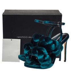 Marco De Vincenzo Teal Blue Velvet Braided Rope Ankle Strap Sandals Size 36