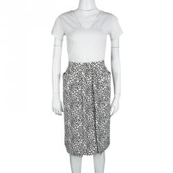 Marni Monochrome Printed Silk Skirt S
