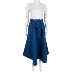Marni Blue Waist Tie Detail Flared Midi Skirt M
