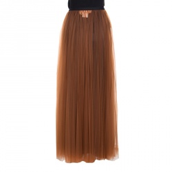 Marni Toffee Gathered Tulle Maxi Skirt S