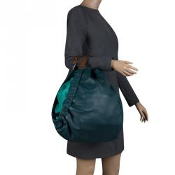 Marni Forest/Mint Green Leather Triangle Slouch Hobo