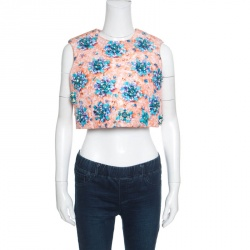 Mary Katrantzou Bejeweled Bow Print Embellished Silverfloss Crop Top M