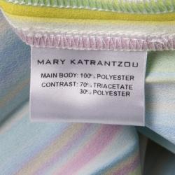 Mary Katrantzou Multicolor Rainbow Striped Plisse Midi Skirt M