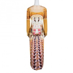 Mary Katrantzou Multicolor Printed Silk Long Sleeve Maxi Sheath Dress M