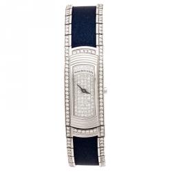Mauboussin Diamond Pave Dial 18K White Gold Diamonds Lady M Mini R68800 Women's Wristwatch 17 mm