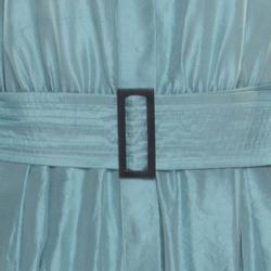 Max Mara Aqua Blue Raw Silk Belted Midi Shirt Dress S