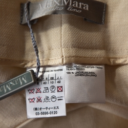 Max Mara Cream Linen Straight Leg Trousers M
